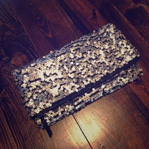 BCBGeneration sequin fold-over clutch